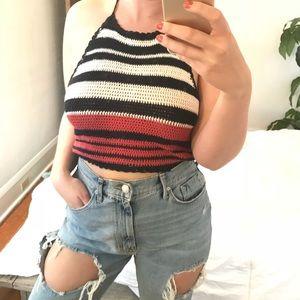 Knit vintage-style halter crop top